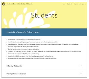 DOE's website for Student/Parent Continuity of Education